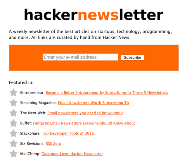 Hacker Newsletter sign-up form is above the fold
