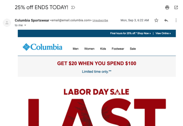 "columbia sportswear subject line: ""25% off ENDS TODAY!"""