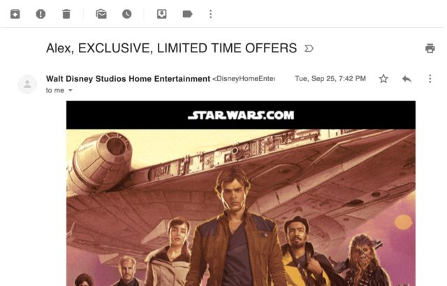 "Disney combines urgency with personalization in their emails. The subject line reads: ""First name, EXCLUSIVE, FREE, LIMITED TIME OFFERS"""