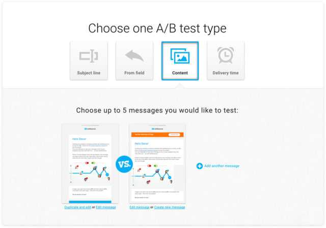 GetResponse split testing and A/B testing
