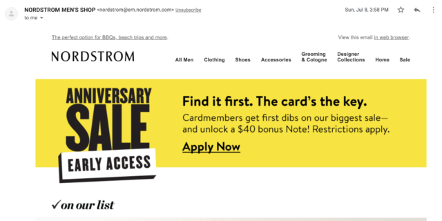 Nordstrom uses a bold color in emails