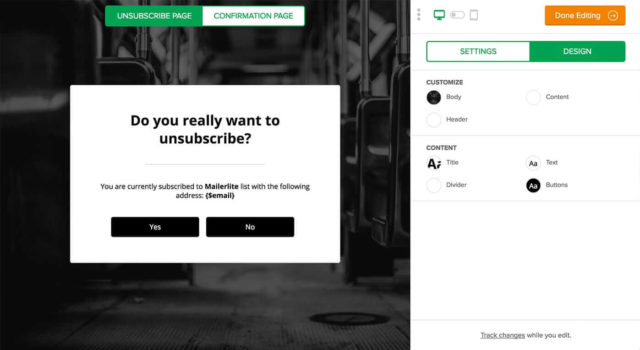 MailerLite Unsubscribe Page Buidler